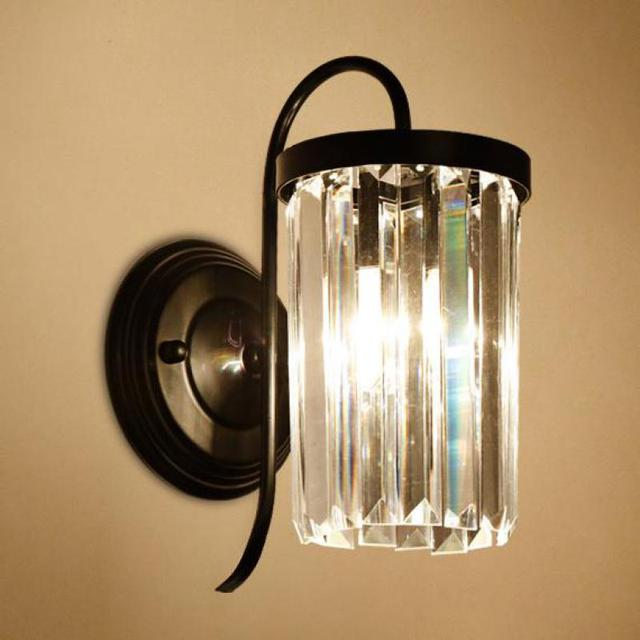 walkway Gold & black Crystal wall Lamps LED Wall fixtures Bedside Lamp Living Room Bedroom Aisle Porch Retro indoor Wall lights