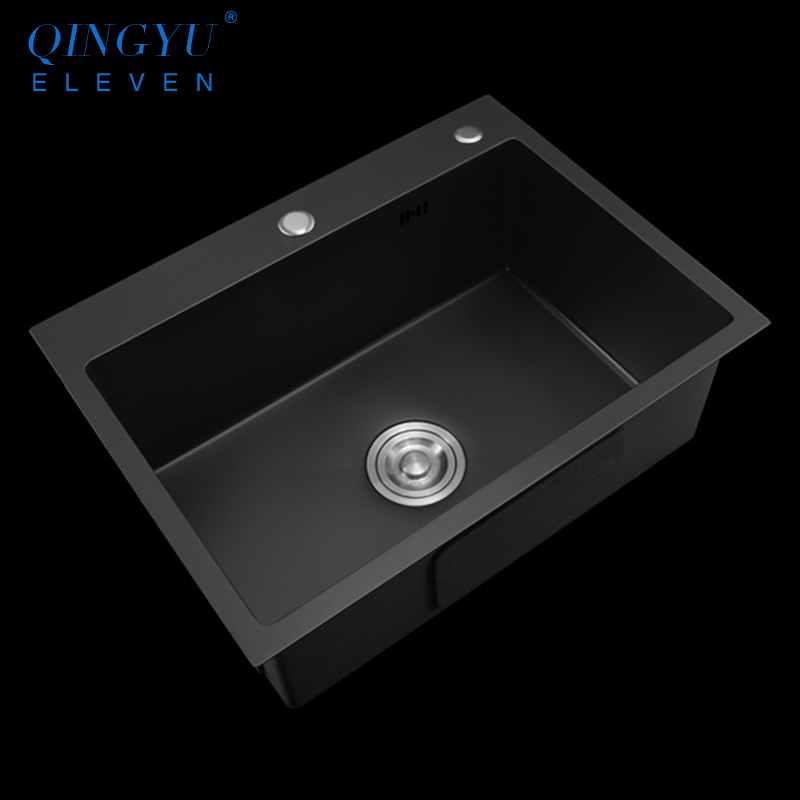 Large Size Kitchen Sink Nanometer Technology Black 304 Stainless Steel Manual Single Kitchen Sink Drain Basket And Drain Pipe