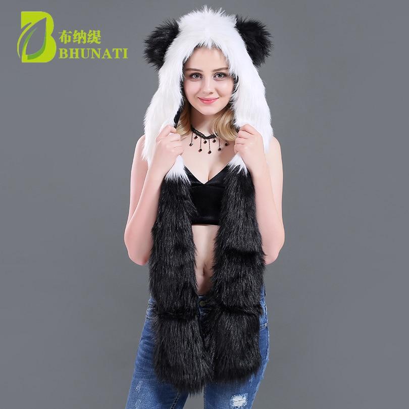 8af1fb1866826 2018 new winter Faux Fur Hood Animal Hoods Hat panda white black cute animal  feux fur hat cap Beanies Cartoon Wolf Hat-in Skullies & Beanies from  Apparel ...