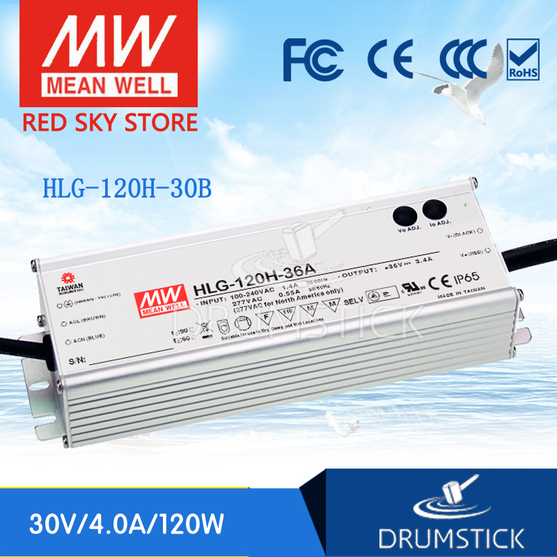 100% Original MEAN WELL HLG-120H-30B 30V 4A meanwell HLG-120H 30V 120W Single Output LED Driver Power Supply B type 1mean well original hlg 120h 15d 15v 8a meanwell hlg 120h 15v 120w single output led driver power supply d type