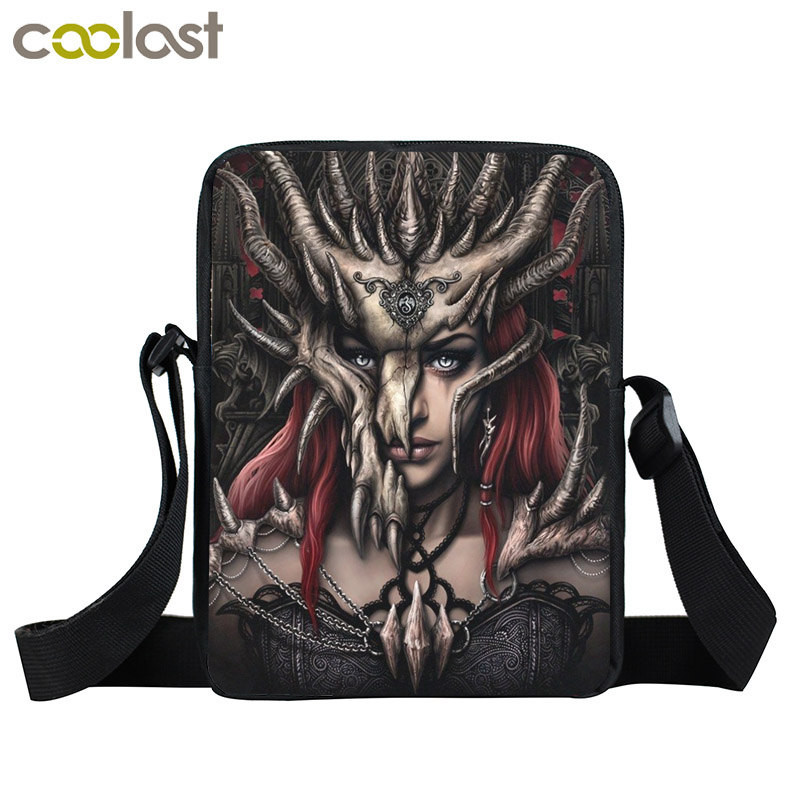 Dark Gothic Mini Messenger Bag Skull Crossbody Bags for Girls Boys Men Viking Warrior Pirate Kids School Bags Punk Women Handbag airsoft adults cs field game skeleton warrior skull paintball mask