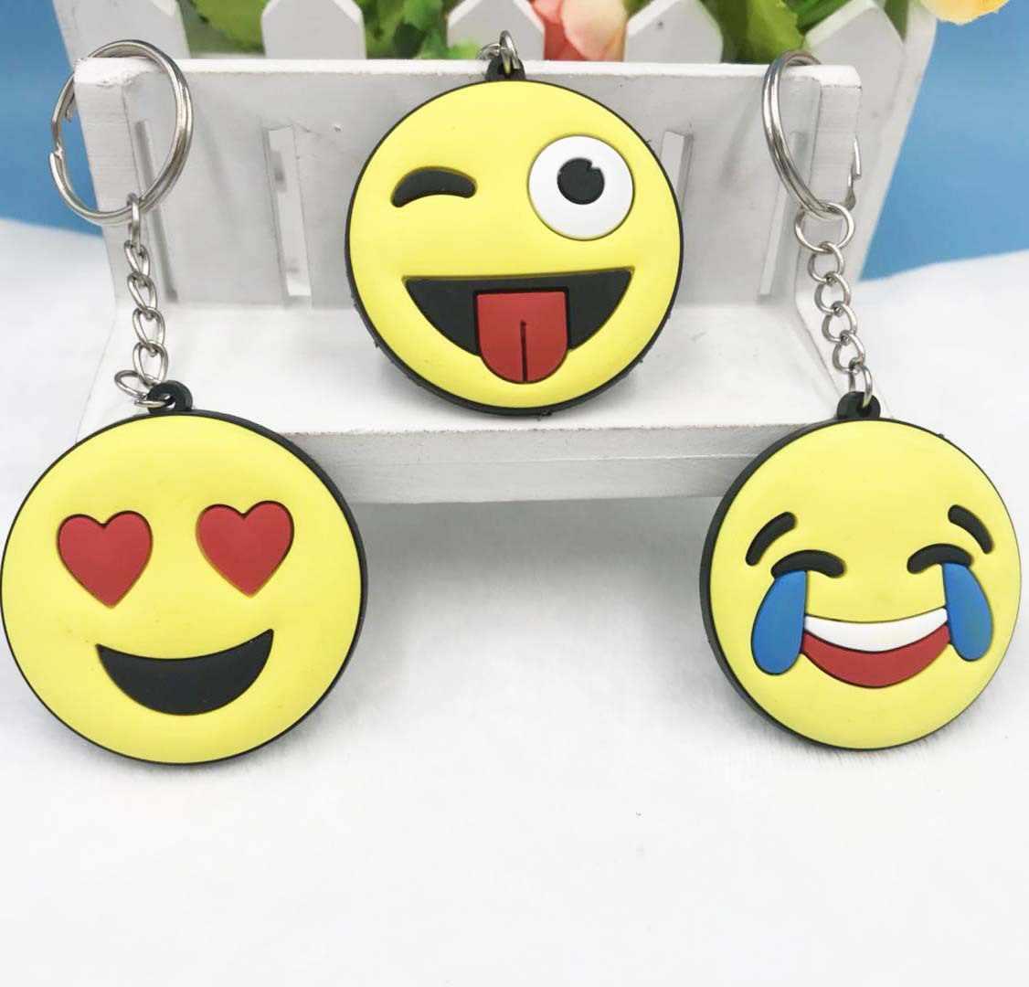 Cores Telefone Emoji Cara engraçada Dos Desenhos Animados Chaveiros Keychain Pequeno Sorriso Amarelo Coração De Plástico Redondo Chaveiro Carro Saco Chlidren