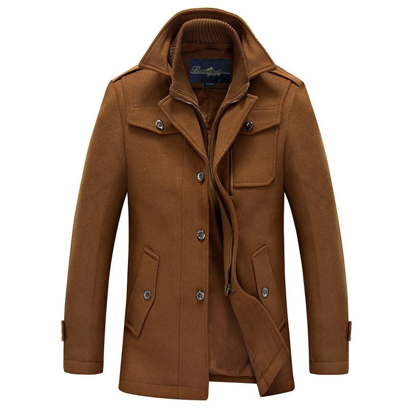 2020 Winter Men's Fashion Wool Coat Warm Thick Double Stand Collar Windbreaker Casual Outwear Overcoat Business Parka Male Black