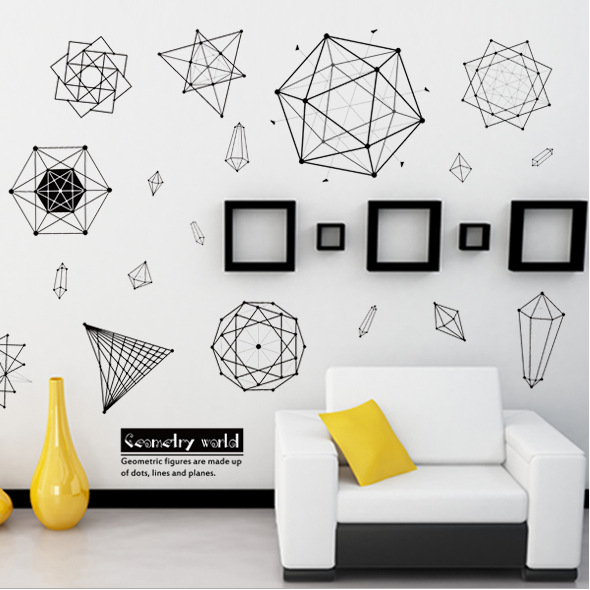triangles diamonds geometric patterns wall stickers living room background office store home decor carved art DIY decals murals