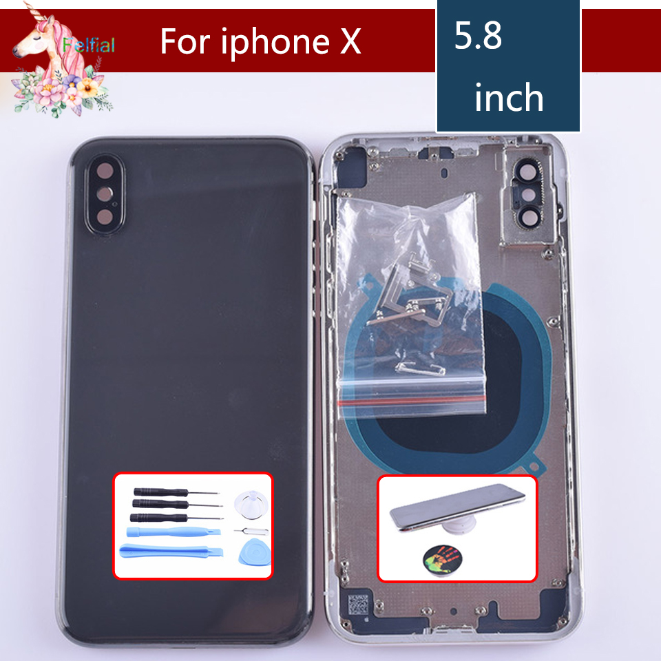 Original For iphone X case body chassis full housing shell assembly iphone 8x battery housing cover replacement New Middle Frame