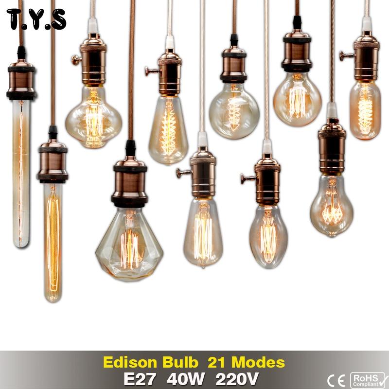 Retro Lamp ST64 G80 G95 Vintage Edison Bulb e27 Incandescent Bulb 220v Holiday Lights 40w Filament Lamp Lampada For Home Decor vintage edison bulb g80 g95 st64 e27 220v 40w retro lamp vintage light bulb edison lamp incandescent light decor filament