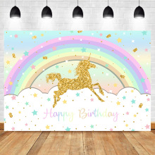 Neoback Happy Birthday Unicorn Background Rainbow Golden Glitter Star Children Banner Cake Table Decoration