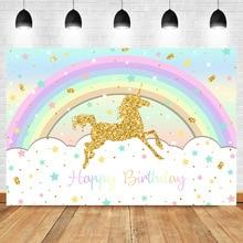 Neoback Happy Birthday Unicorn Background Rainbow Golden Glitter Star Children Banner Cake Table Decoration