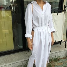 Women Fashion Solid Lapel Loose Shirt Dress Vintage Long Sleeve Sashes Split Empire Dress Single-breasted Casual A-Line Dresses women loose long shirt dress fashion women single breasted dress ladies casual solid color long sleeve maxi dresses plus size