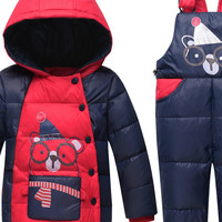 The Children Down Boys and Girls Two Suit Infant Child 2017 New Kids Thick Warm Clothes