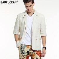 Gaupucean 100 Linen Man Blazer High Quality Summer Party Bar Nightclub Beige Half Sleeve Single Button