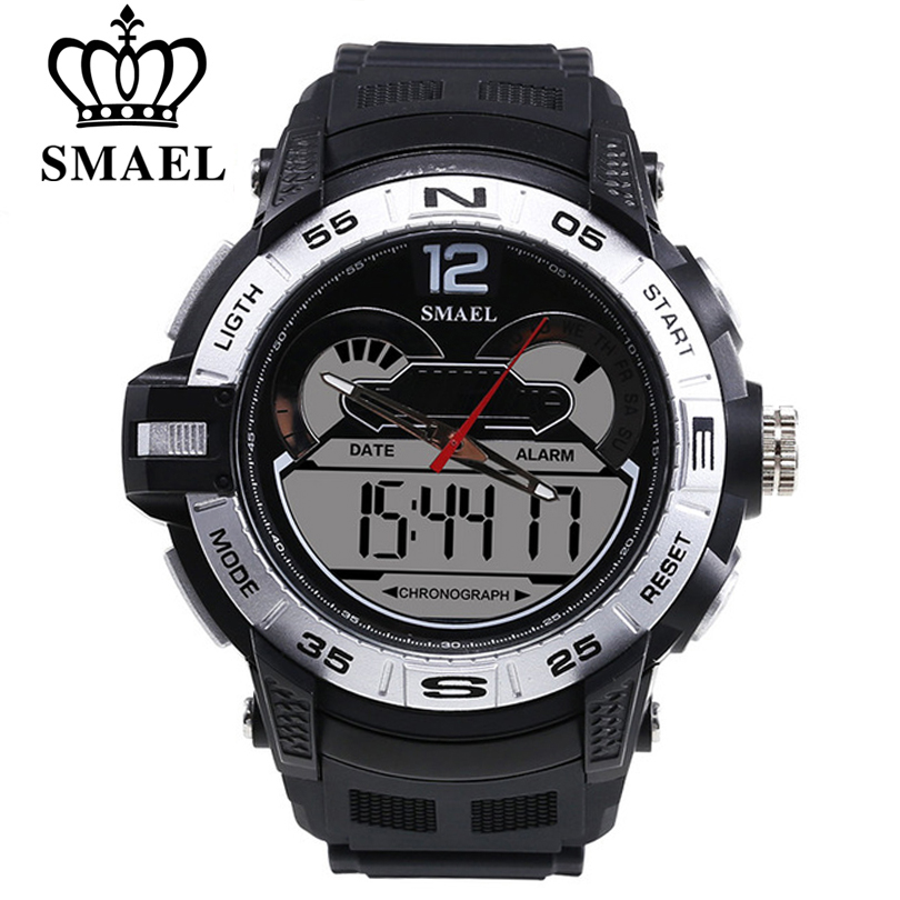 SMAEL Men Big Dail LED Dual Digital Swimming Outdoor Sport Watch Men Waterproof Multifunction Wristwatch Young Man Style Watches ezon radio wave calibrate time digital men sports watch outdoor casual running swimming waterproof 50m wristwatch montre homme