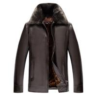 2019 men's upset warm fur coat lapels The new winter Take MAO zipper leather men's business