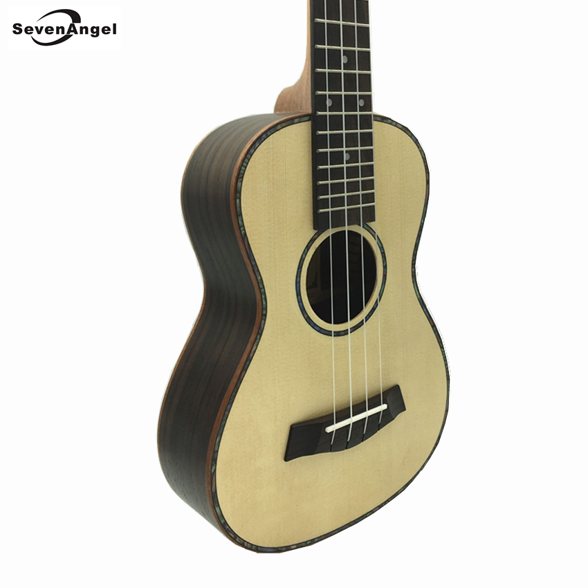 SevenAngel Brand 23  Concert  Ukulele  Spruce Solid Wood Top Only Ukelele Hawaiian 4 String Guitar Electric Uku with Pickup EQ free hardcase with nature sj200 electric acoustic guitar with pickup eq hot sell da003a solid spruce body and maple top back