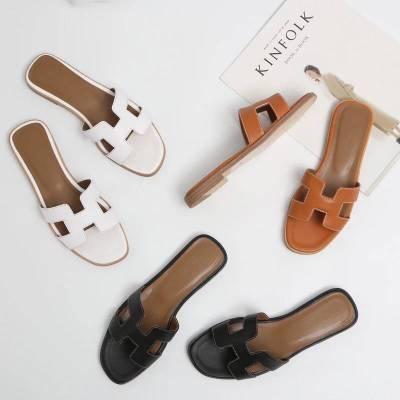 Лето Черный или Белый H дамские сандалии женские роскошные дизайнерские сандалии из натуральной коровьей кожи туфли на плоской подошве Дам...