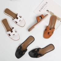 Summer black or white H ladies sandals ladies luxury designer sandals real cowhide shoes flat shoes slippers women fashiona