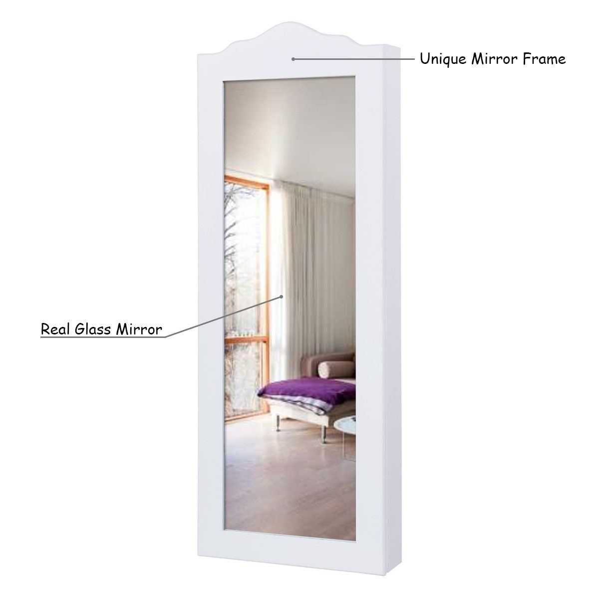mirror amazon jewelry stand bracelets necklaces kitchen w dp armoire com cabinet white mirrored rings dining