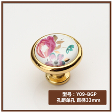 Dia. 33 мм керамическая Цинковый сплав золотого цвета Современные ручки шкафа ручки ящика тянет тюльпан цветок печати