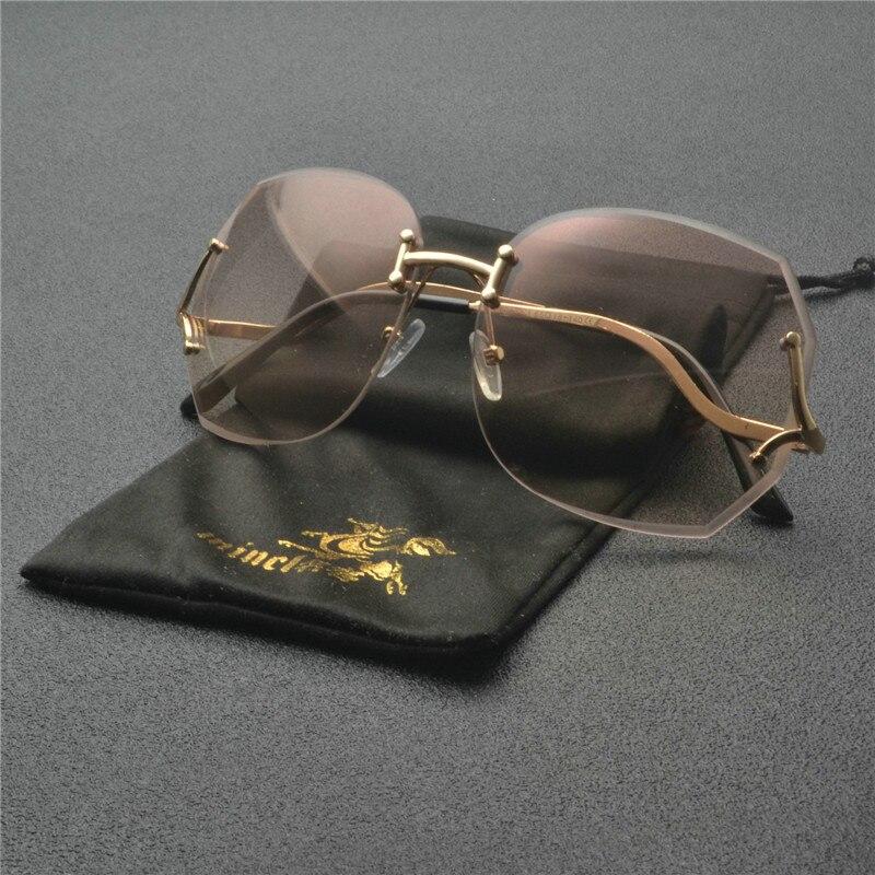 Oversize Sunglass Brand Designer Women Big Size Female Clear Lens glasses Transparent Gradient Rimless Sunglasses FML
