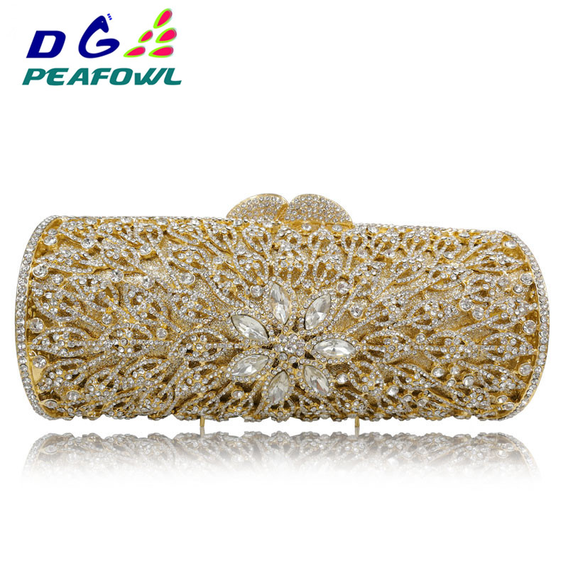 DG PEAFOWL Luxury Custom made Diamond Opal Flower Shape Women Gold Crystal Clutch Hard Metal Clutches bag Wedding Evening BagsDG PEAFOWL Luxury Custom made Diamond Opal Flower Shape Women Gold Crystal Clutch Hard Metal Clutches bag Wedding Evening Bags