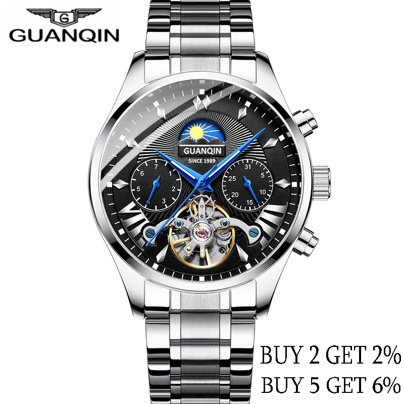 GUANQIN 2019 Automatic/mechanical/luxury Clock Men's/mens Watches Top Brand Luxury Watch Men Gold Tourbillon Mens Reloj Hombre