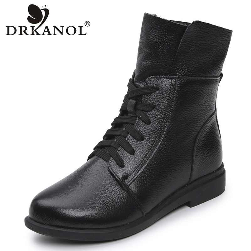 DRKANOL Fashion Cow Genuine Leather Women Ankle Boots Square Heel Martin Boots Ladies Lace Up Motorcycle Boots Black Red Booties