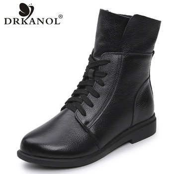 DRKANOL Fashion Cow Genuine Leather Women Ankle Boots Square Heel Martin Boots Ladies Lace Up Motorcycle Boots Black Red Booties women boots genuine leather lace up ladies shoes lace up grey black ankle boots light eva sole slip proof martin boots a1