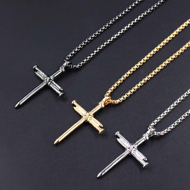 Men Jewelry Stainless Steel Nail Rope Cross Pendant Nail Necklaces XLCT013 in Pendant Necklaces from Jewelry Accessories