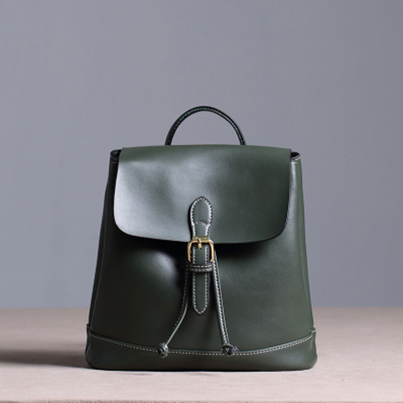 2017Genuine leather luxury Women Backpack Fashion All-match Simple Women bag College style Bucket bag Black Brown and Green  gzl 2017 female backpack europe and the united states simple style fashion backpack college backpack bucket bag leisure package