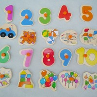 Lovely Baby Child Wooden Early Cognitive Learning Educational Numbers Puzzle Toy Hot Sale