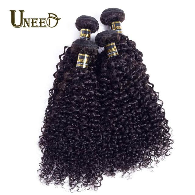 Uneed Hair Malaysian Kinky Curly Weave Hair Bundles Natural Color