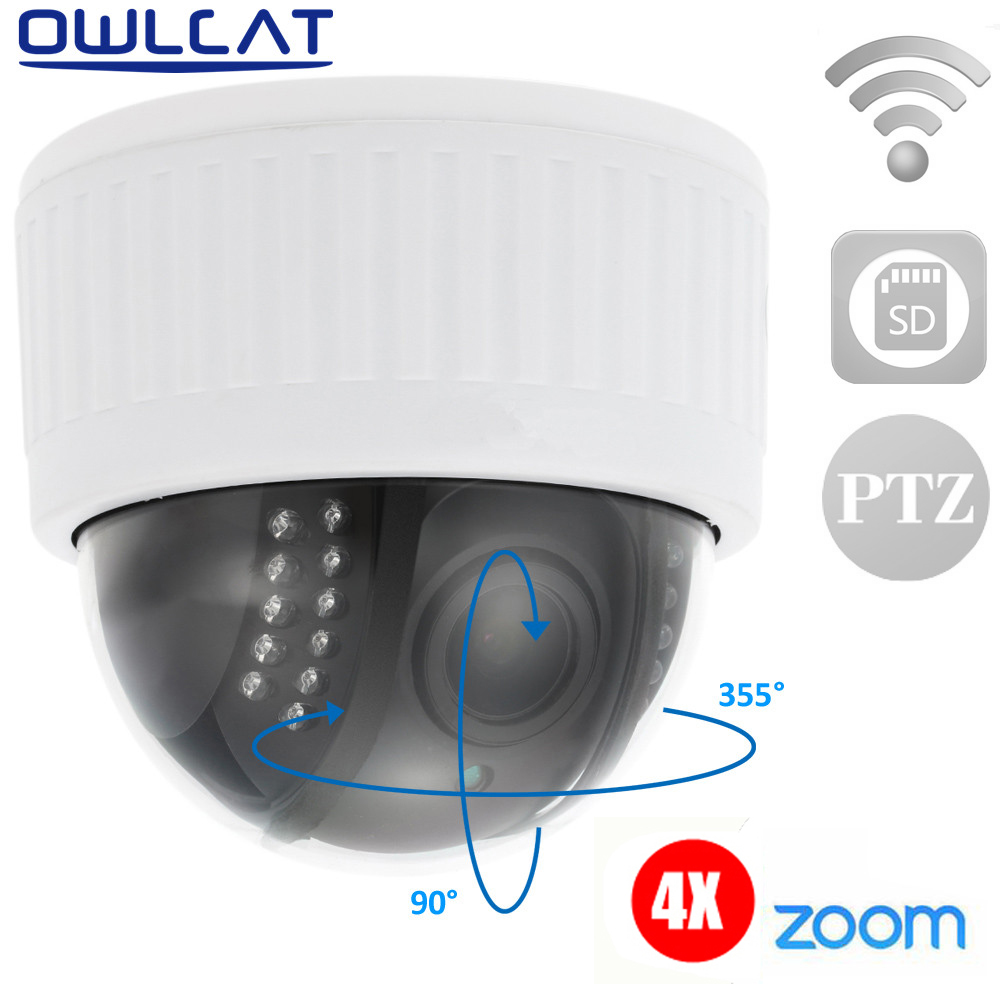 Owlcat 5X Zoom Full HD 1080P Dome PTZ Video Surveillance CCTV IP Camera wifi Microphone Audio IR Night security camera & SD Card new audio ip camera video surveillance security cctv camer network ir dome ip cam with external microphone