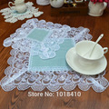 10pcs/lot Linen with Lace rose doily placemat coaster table pad for home decoration
