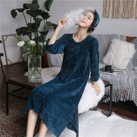 QWEEK Women Sleepwear Winter Warm Night Dress Long Sleeve Nightgown Thick Plush Home Wear Soft Dress Nightwear Sleep Lounge