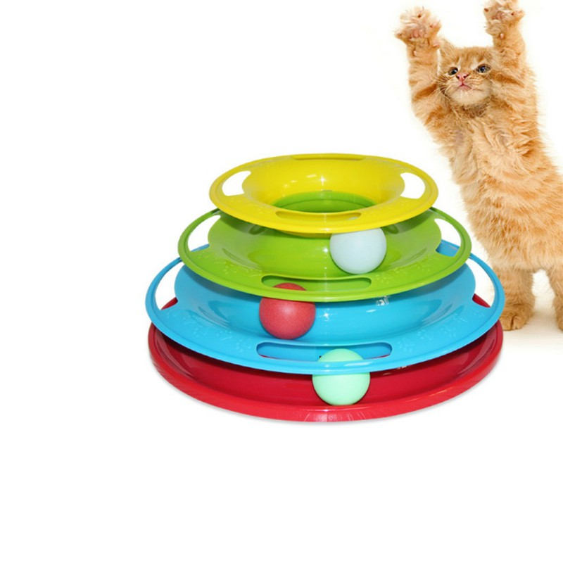 Top Hight Quality Funny Pet Toys Cat Crazy Ball Disk Interactive Amusement Plate Play Disc Trilaminar Turntable Cat Toy