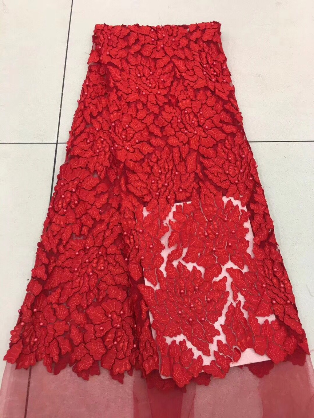 Red Color New Design African Lace Fabrics High Quality French Lace Fabric For Party Dress Nigerian