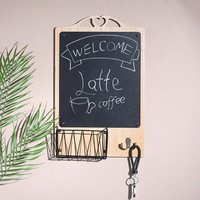 Vintage Wooden Wall Hanging Plaques Coffee Menu Tea Wi Fi Bar Beer Art Posters Home Decor Restaurant Word Blackboard with Holder