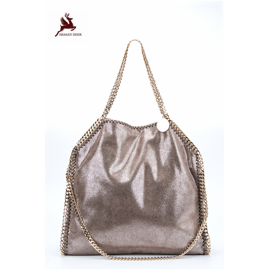 22018 NEW Exclusive Shaggy Deer Luxury PVC 3 Chain Falabellas Handbag Fold-Over Classical PVC Large Capacity Tote mini gray shaggy deer pvc quilted chain bag with cover real picture
