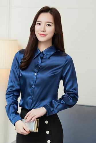 273d4f3b0425a ... Stinlicher Satin Silk Shirt Women Autumn Long Sleeve Elegant Work Wear  Tops Korean Fashion Purple Green ...