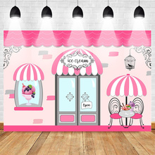 Ice Cream Shop Poster Sweet Style Birthday Candy Bar Photography Backdrop for Princess Stripes Summer Background Photography майка print bar ice princess