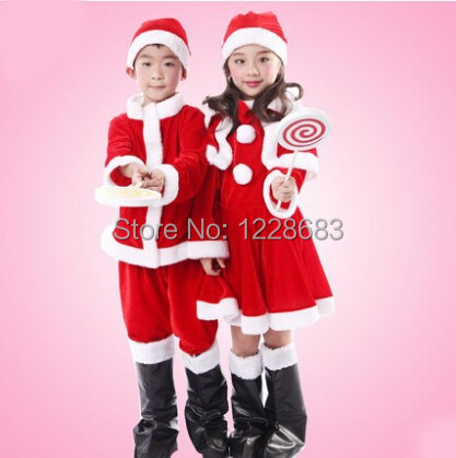 Free Shipping Fantasia Gilrs Boys Children Natal Christmas Clothes Christmas Costumes For Kids