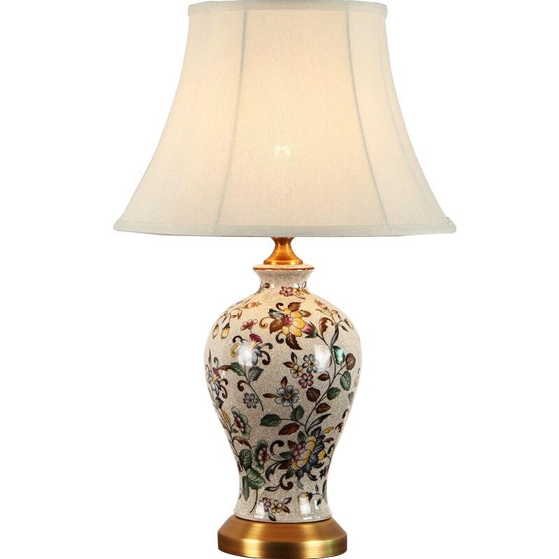 Новая классическая ручная роспись китайский Керамика Ткань LED E27 Настольная лампа для Гостиная исследование Спальня прикроватной тумбочке ...