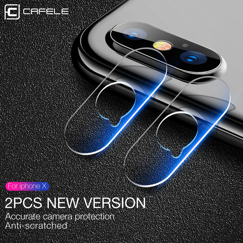 CAFELE 2Pcs Camera Lens Glass for iphone X Screen Protector Ultra Thin Camera Lens Tempered Glass for iphone X 10 Seamless Film