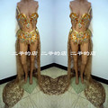 Gold female  sexy costume nightclub  women DS costumes new dance bar  DJ stage for singer dancer star nightclub performance show