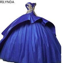 Синее бальное платье для девушек 15 лет с оборками в стиле часовни