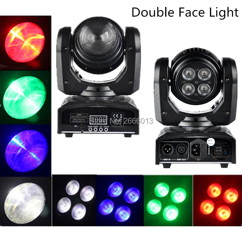 2pcs/lot LED Beam Wash Double Sides 4 x10W+1 x10W RGBW DMX 512 Rotating Moving Head Lighting for Indoor Disco Party LED Lamps