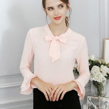 9dee38a8d481 Женская элегантная шифоновая блузка с длинными рукавами, топы, офисные  женские свободные повседневные однотонные рубашки