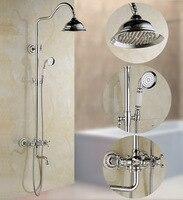 Xogolo двойные ручки смеситель для душа набор 8 дождь Showerhead, приходя с рук спрей, хром, круглое смеситель для душа набор