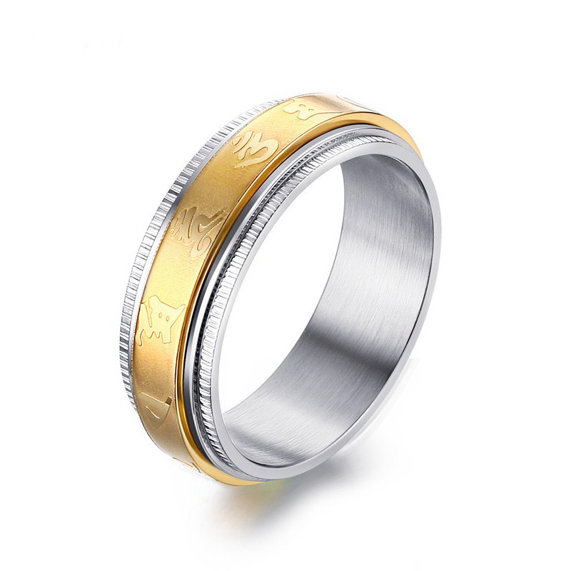 Rings Systematic Linsoir 2017 New Stainless Steel Spinner Ring For Men Gold-color 7mm Antique Six Words Rotate Mantra Male Rings Fashion Jewelry Traveling