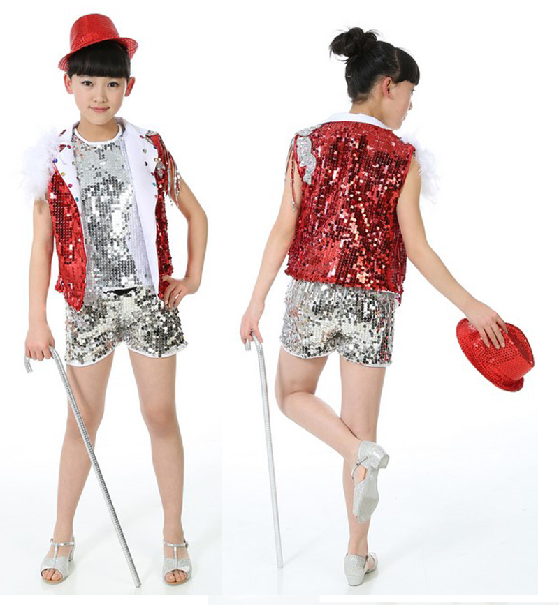 blue red children girl boy performance flashing paillette sequins Hip hop Jazz modern dance suit costume pants vest with feather